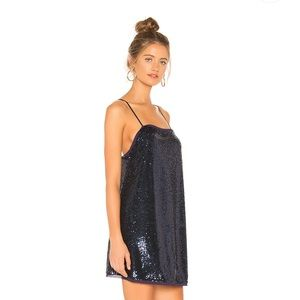 Free People Dresses - Free People Time to Shine Navy Blue Sequin Slip